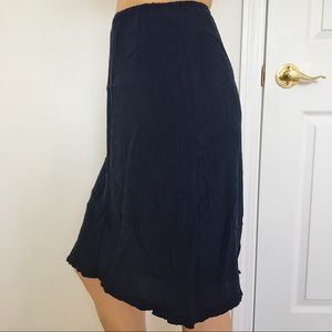 Navy Blue 100% Silk Skirt